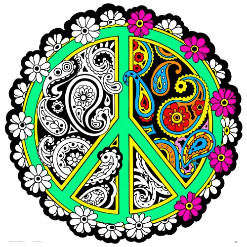 (Stuff2Color Peace Sign Fuzzy Velvet Mandala - 20x20 Inches)
