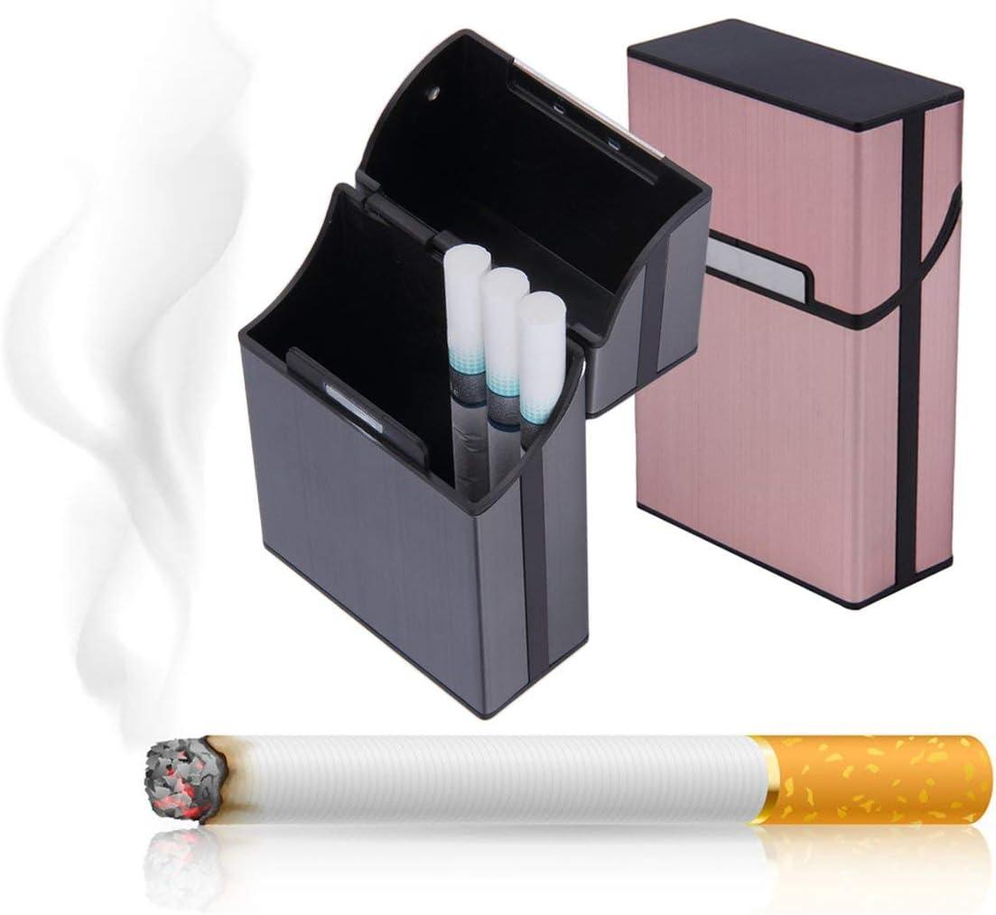 73JohnPol Tragbare Zigaretten Slim Aluminium Zigarettenetui Zigarre Tabak Halter Box Vorratsbeh/älter Rauchen Zubeh/ör /& Farbe: Grau
