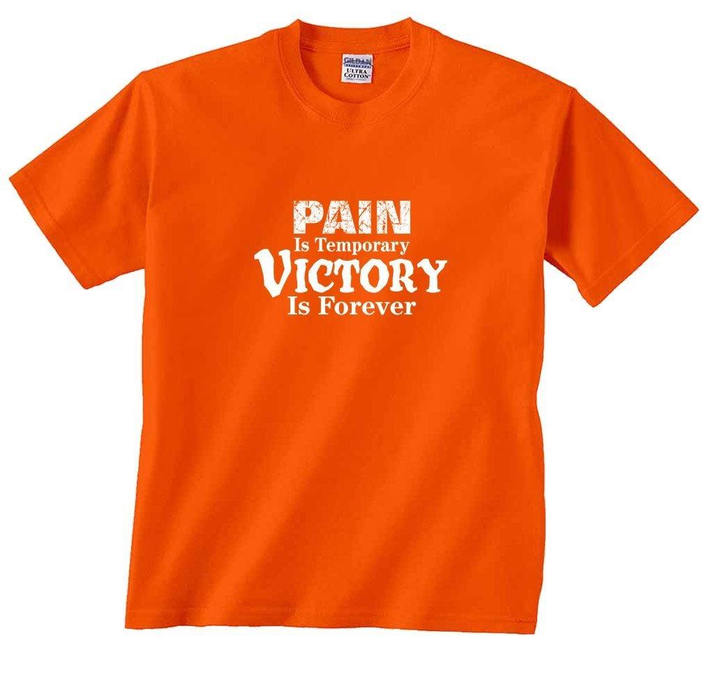 野球Tシャツ: Pain is temporary victory is forever-orange-youth Large B01F6M94X0