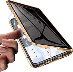 Hapo Anti-peep Magnetic Case for iPhone XR 6.1 inches Anti-Spy Tempered Glass Phone Cases Cover,Anti Peeping Adsorption Privacy Screen Protector (Gold)