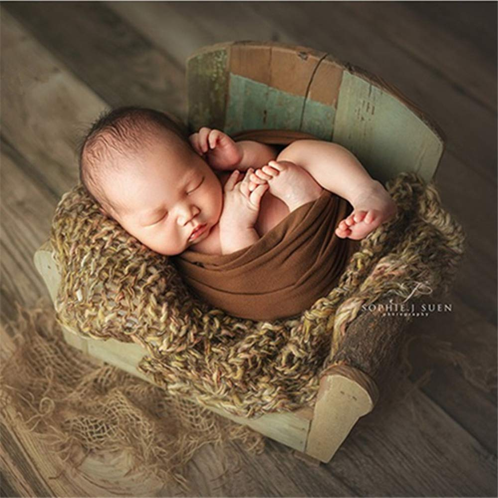 Dvotinst Newborn Photography Props for Babies Baby Posing Retro Chair Cute Mini Wooden Sofa Accessorio Studio Shoot Photo Props by DVOTINST (Image #1)