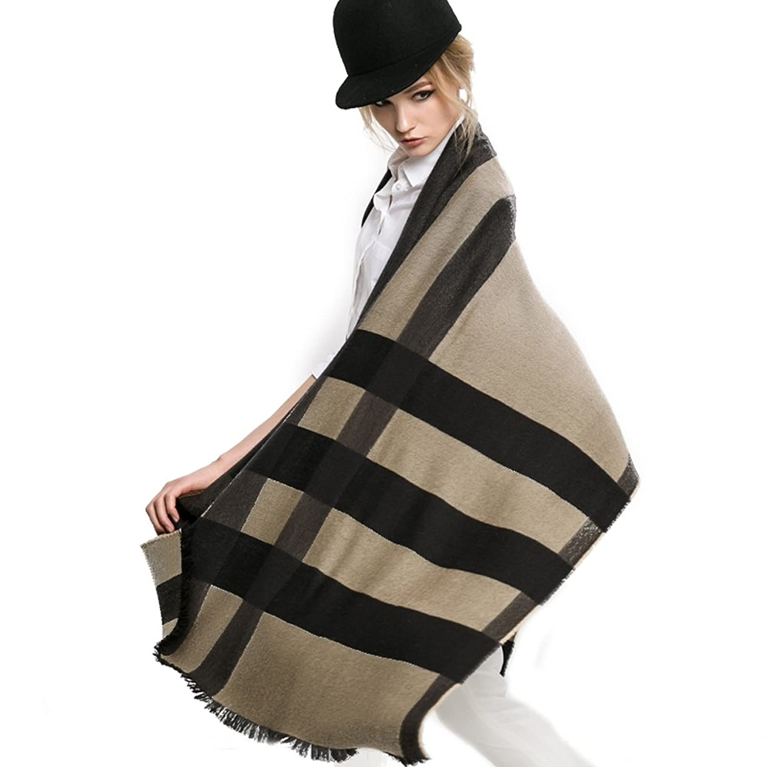 Mingxin womens long length cashmere scarf checks pattern winter autumn spring