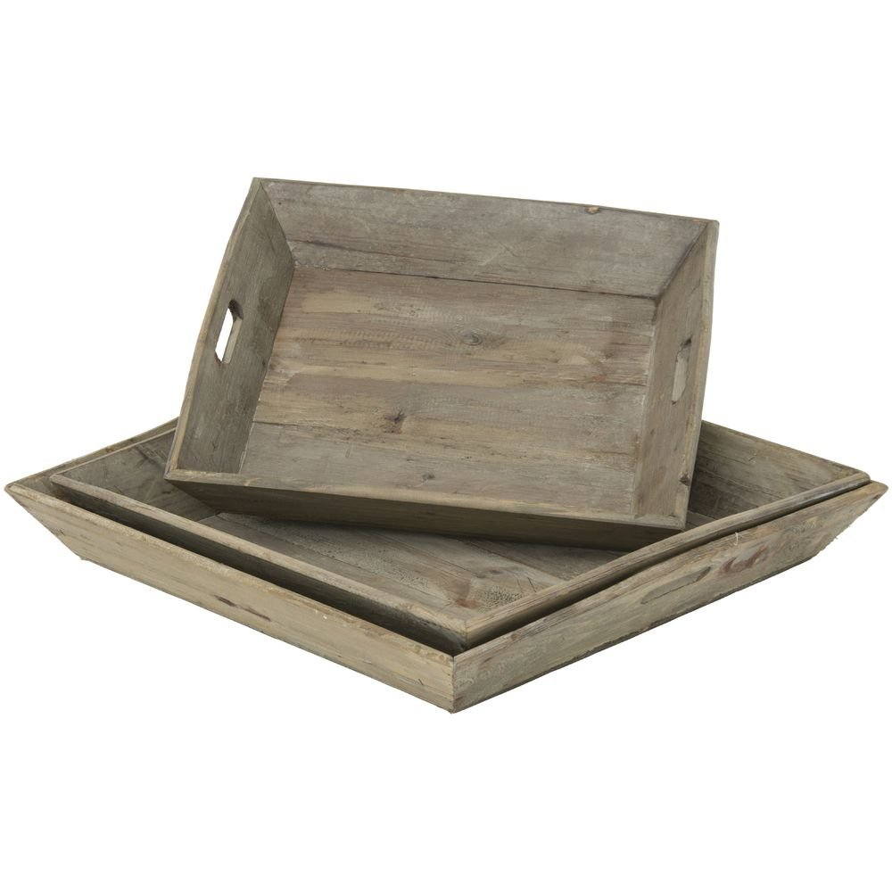 Display Trays Reclaimed Rustic Wood Tray Set Set of 3 by Park Hill Collection (Image #2)