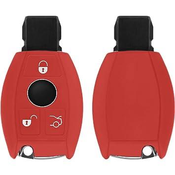 PhoneNatic Funda de Silicona para Mando de 3 Botones de Mercedes-Benz C Klasse en Rojo Llave Plegable de 3-Key