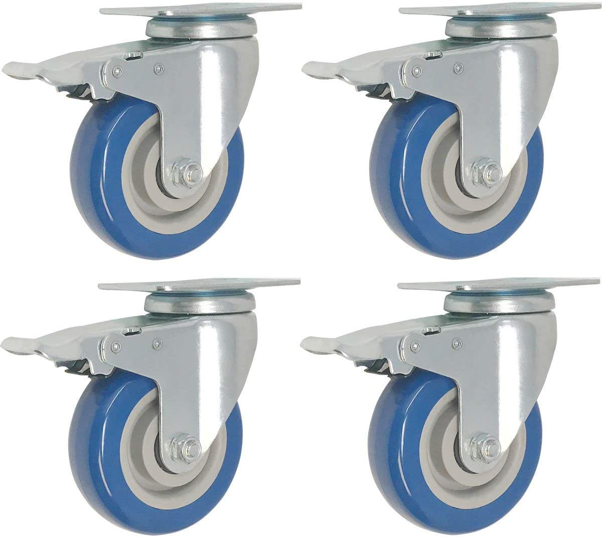 4 Pack Caster Wheels Swivel Plate w/Brake Casters On Blue Polyurethane Wheels (5 inch with Brake)