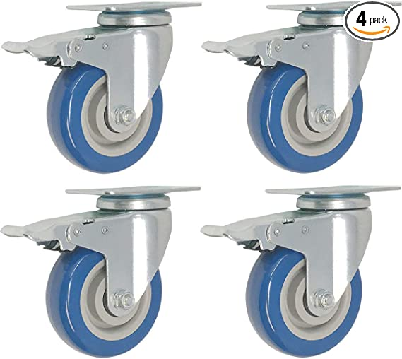 12 Pack 5 Inch Caster Wheels Swivel Plate Total Lock Brake On Red Polyurethane
