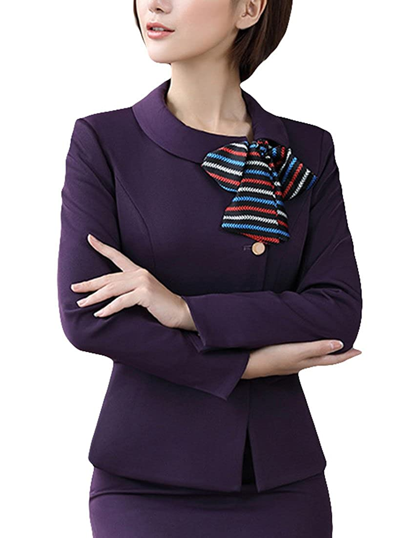 MFrannie Women Single Breasted Slim Fit Suit Jacket and Skirt 2 Piece