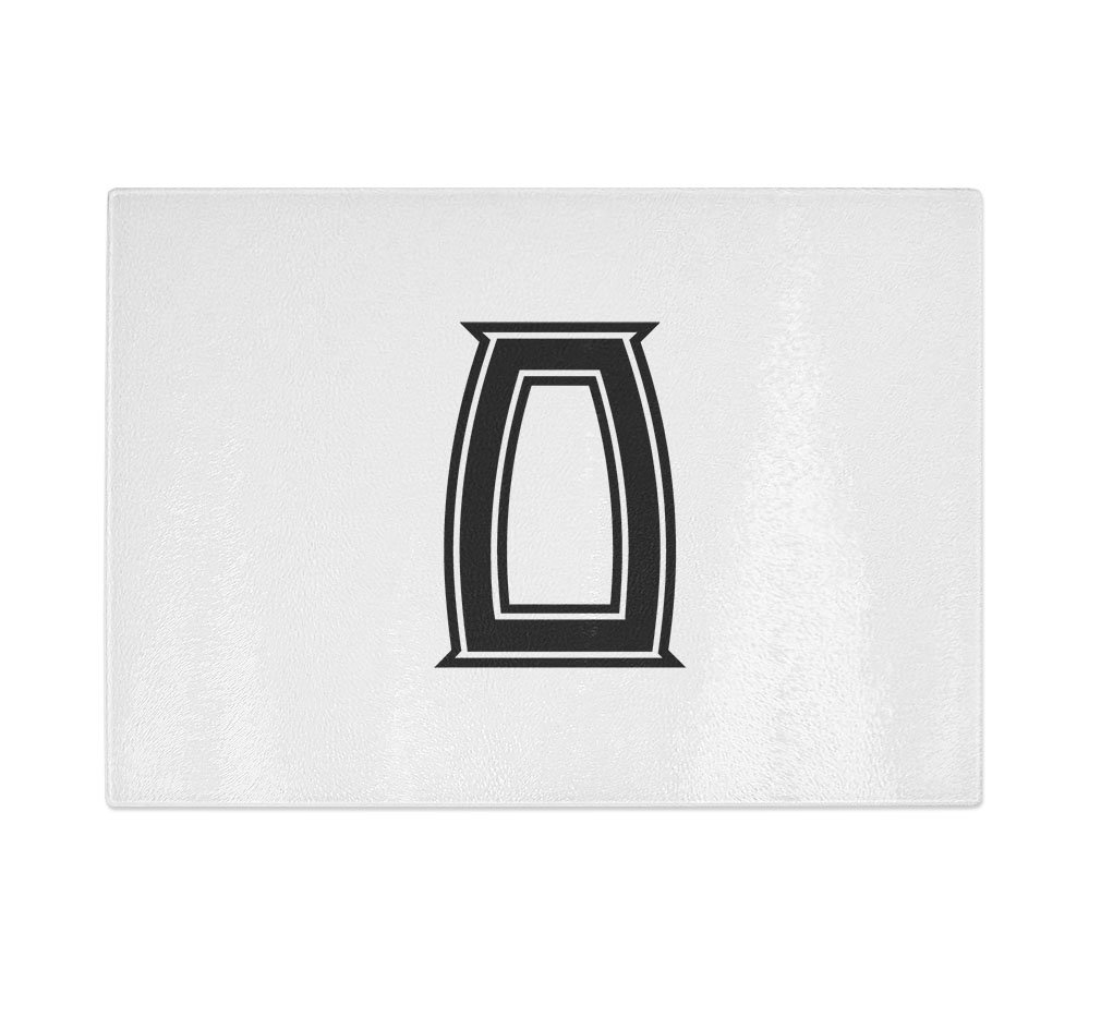 ''O '' College Font Initial Monogram Letter O Kitchen Bar Glass Cutting Board - 8 in x 11 in