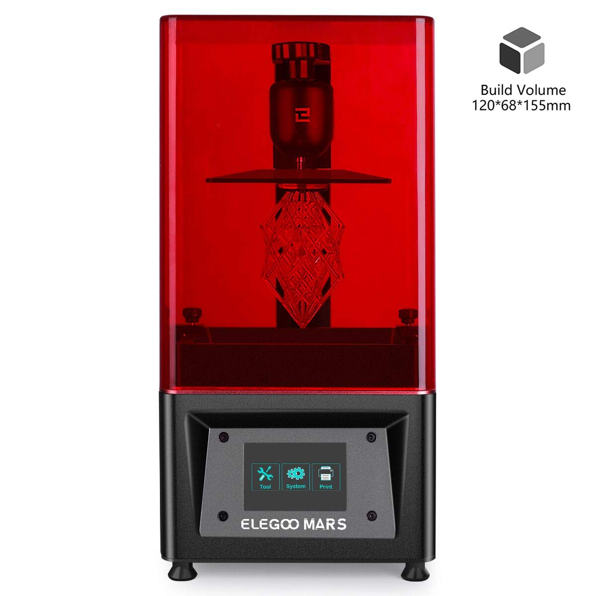 "ELEGOO Mars UV Photocuring LCD 3D Printer with 3.5'' Smart Touch Color Screen Off-line Print 4.72""(L) x 2.68""(W) x 6.1""(H) Printing Size Black Version"
