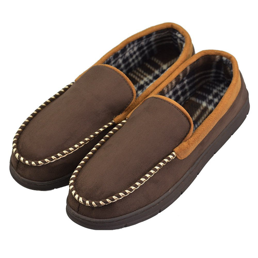 VLLY Men's Anti-Slip Casual Pile Lined Microsuede Indoor Outdoor Slip On Moccasin Slippers (FBA) ms01v3
