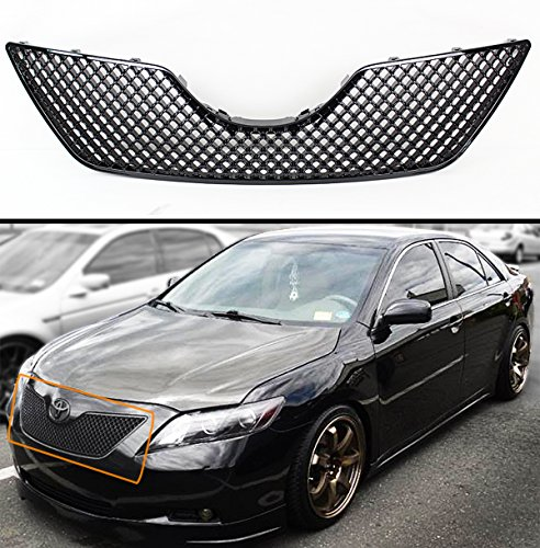 FOR 2007-2009 TOYOTA CAMRY GLOSSY BLACK JDM SPORT 3D DIAMOND FRONT HOOD MESH GRILL GRILLE Jdm Front Hood