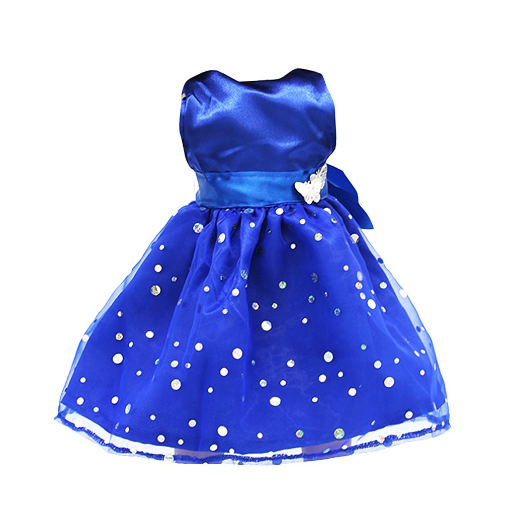 Blue Sequin Dress with Butterflies for 18inch American Dolls, Sleeveless