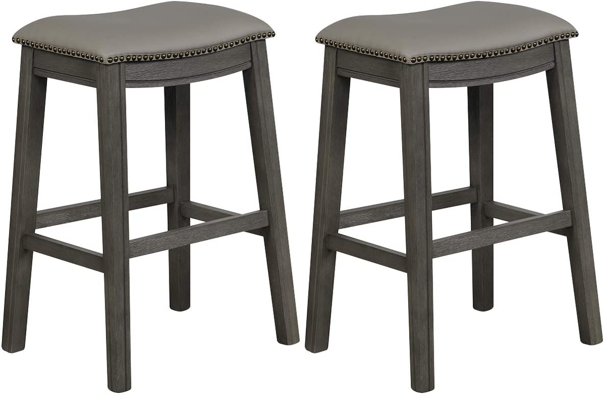 COSTWAY 29 Inch Bar Height Saddle Stool Set of 2, Backless Saddle Stool with Cushioned Seat, Sturdy Rubber Wood Structure with Humanized Footrest, Easy Assembly Ideal for Home Kitchen Pub (Grey, 2)