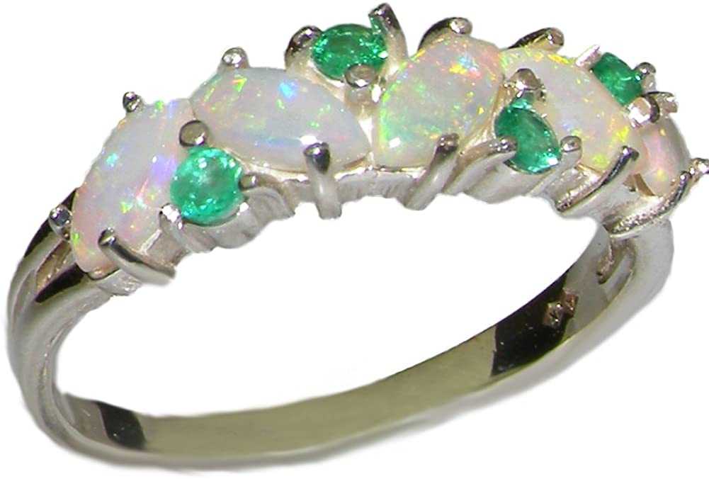 925 Sterling Silver Real Genuine Opal and Emerald Womens Eternity Ring