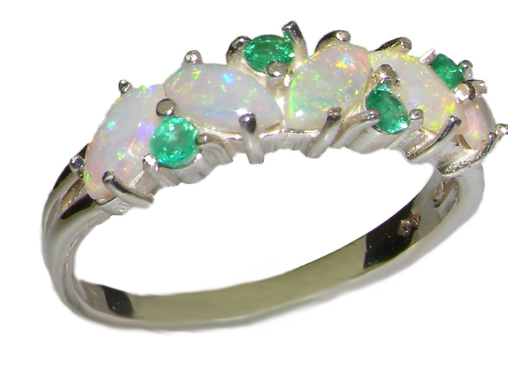 925 Sterling Silver Natural Opal and Emerald Womens Eternity Ring - Sizes 4 to 12 Available