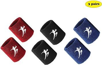 VERTAST Muñequeras Unisex Diadema de algodón Grueso, Muñequera Transpirable Anti-Transpiración Transpirable para Tenis Fitness Badminton Squash, 6pcs Set, Negro/Rojo/Azul: Amazon.es: Deportes y aire libre