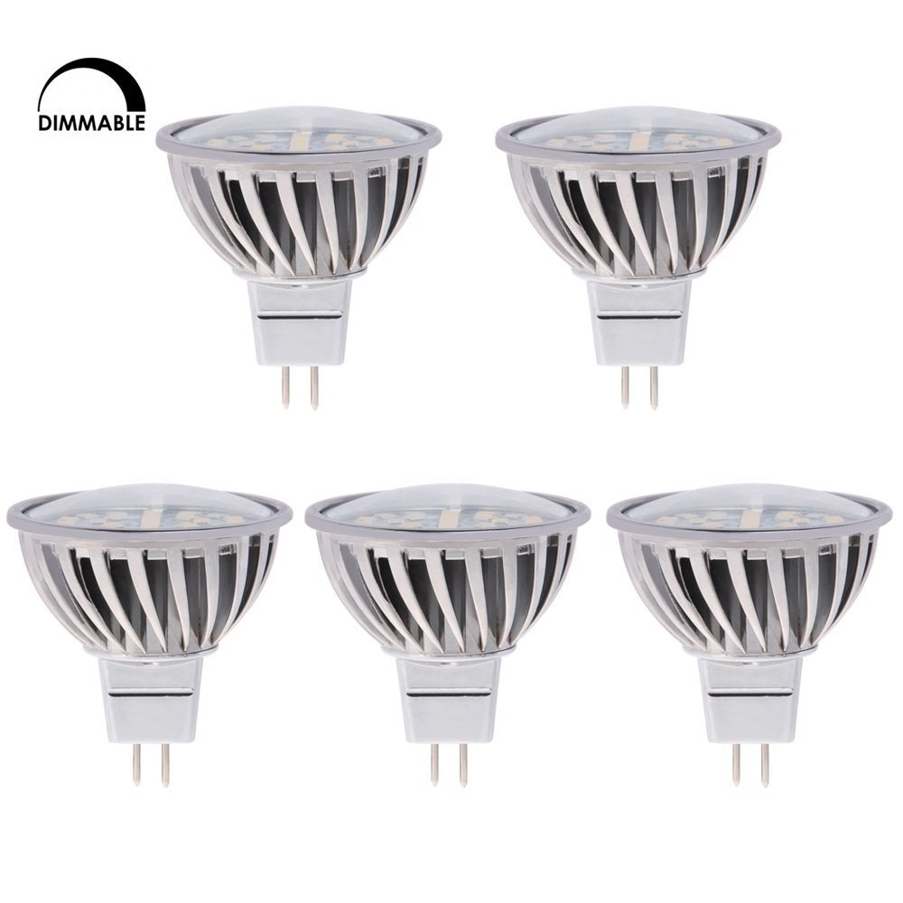HERO-LED MR16-DIM-24T-NW Dimmable MR16 GU5.3 12V LED Halogen Replacement Bulb, 120 Degree Wide Beam Floodlight, 4.8W, 50W Equivalent, Natural White 4000K, 5-Pack