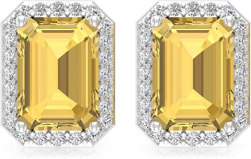 Pendientes de piedra de nacimiento con forma de octágono, de 2 quilates, certificado IGI de diamantes, boda, boda, IJ-SI, declaración de diamantes, tornillo hacia atrás