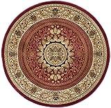 Jayden Traditional Oriental Red Round Area Rug, 8′ Round For Sale
