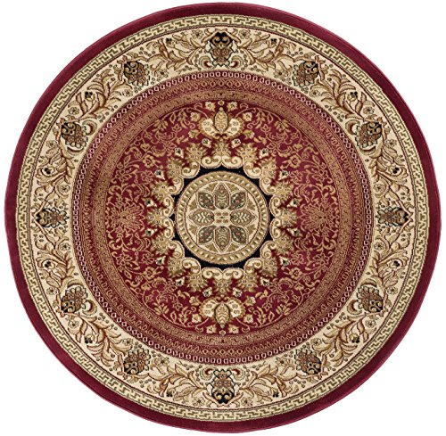 Jayden Traditional Oriental Red Round Area Rug, 8' Round