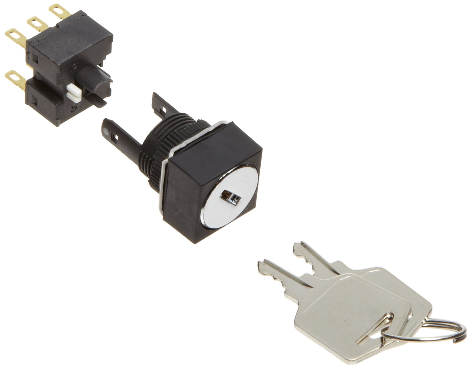 Omron A165K-A2MR-2 Key Type Selector and Switch, Solder Terminal, IP65 Oil Resistant, 16mm Mounting Aperture, 2 Notches, Manual Reset Method, Right Key Release Postion, Square,Double Pole Double Throw Contacts