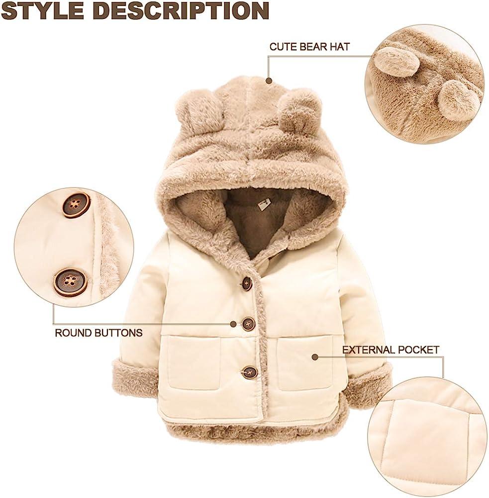 Baby Girls Boys Fleece Teddy Bear Hooded Parka Coat Jacket Winter Warm Outwear