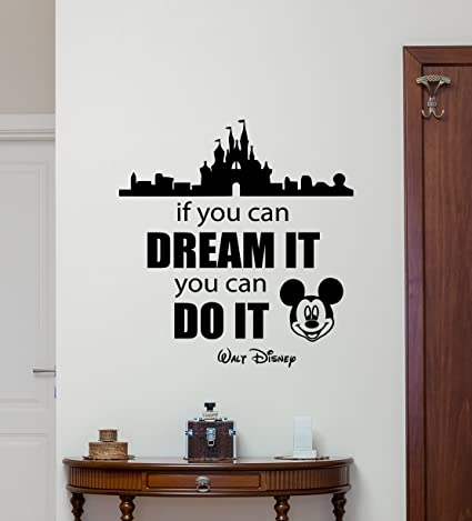walt disney quote wall decal mickey mouse disneyland castle home bedroom vinyl sticker cartoons movie lettering