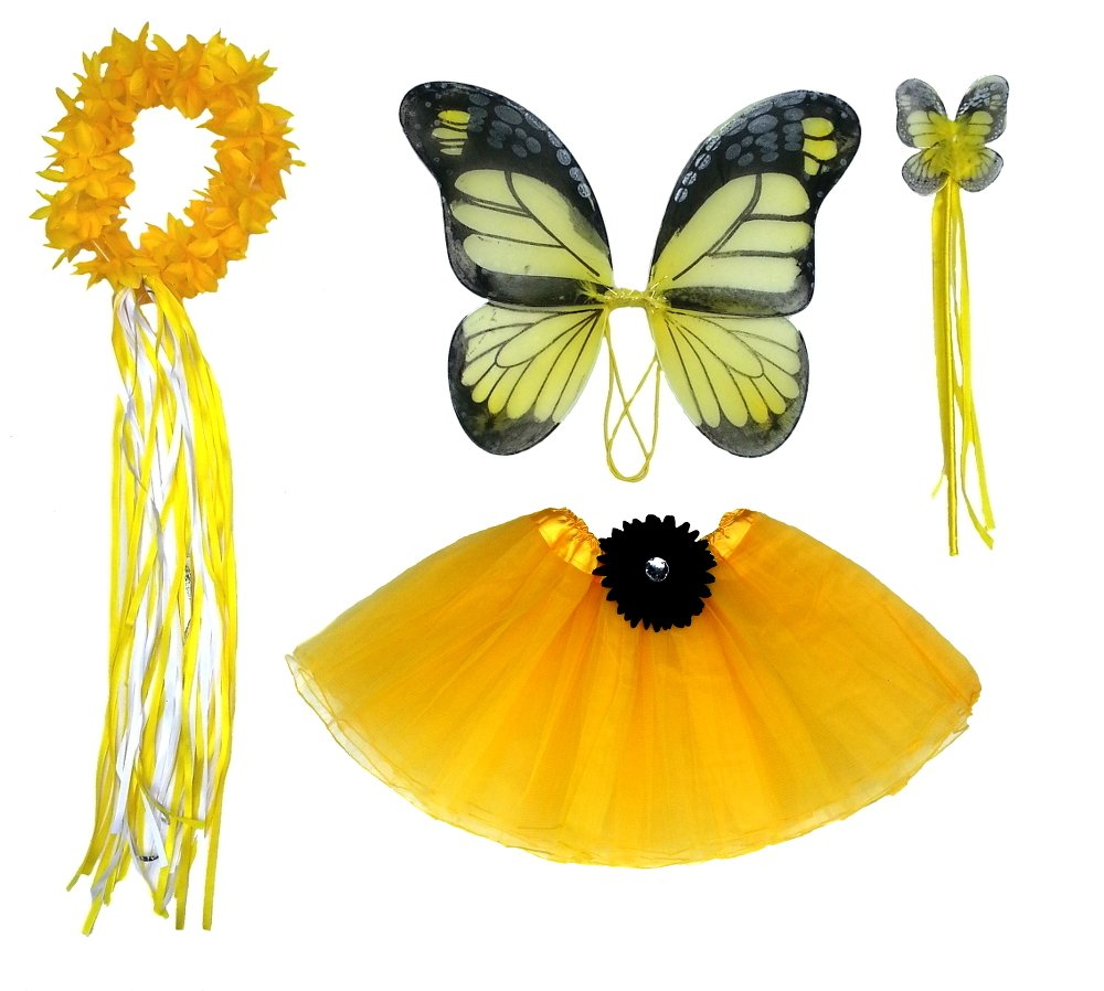 Girls Yellow Butterfly Monarch Dress Up Costume Age 3-7