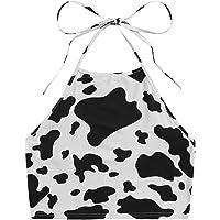 Floerns Women's Plus Size Cow Print Sleeveless Vest Halter Cami Crop Top