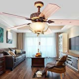Akronfire Rustic Ceiling Fan for Decorate Bedroom Dining Room Living Room Remote Control Antler Silent Fans Chandelier with 3 Light 5 Reversible Wood Blades 52 Inch