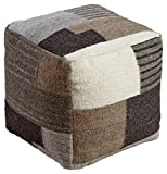 Signature Design by Ashley A1000387 Calbert Pouf, Black/Brown/Cream