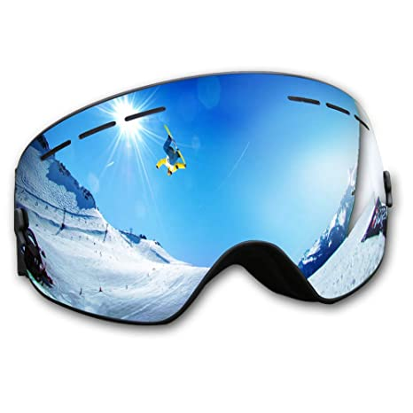 dc6e54f097bb Amazon.com   KACOOL OTG Ski Goggles Anti-Fog UV Snowboard Goggles  Interchangeable Lenses Snow Goggles for Men and Women