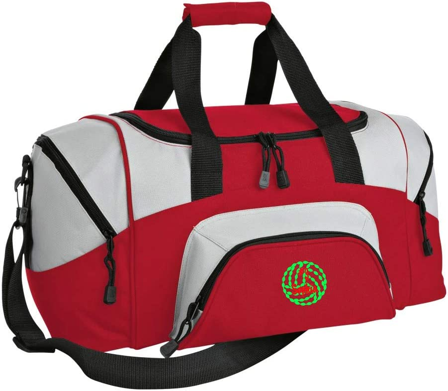 Personalized Volleyball Gym Duffel Bag with Custom Text Easy Organizing Sports Bag with Customizable Embroidered Monogram Design Red Grey