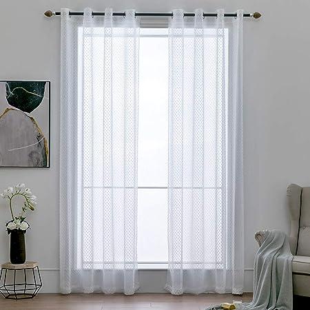 Blancas Lalafancy 2 Piezas Visillos para Ventanas Cortinas Transparente Suave con Ojales para Dormitorio Sal/ón Habitaci/ón,140 x 175 cm