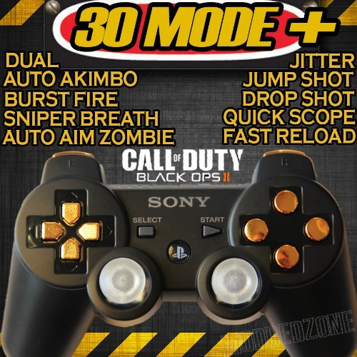 Playstation 3 Black/gold Rapid Fire Modded Controller 30 MODE for Black Ops 2 Cod Mw3 Sniper Breath Jump Shot Jitter Quick Scope Auto Aim (Call Of Duty Black Ops 2 Sniper)
