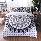 Meeting Story Mandala Bohemian Design 3Pcs Duvet Cover Set (Queen, White)