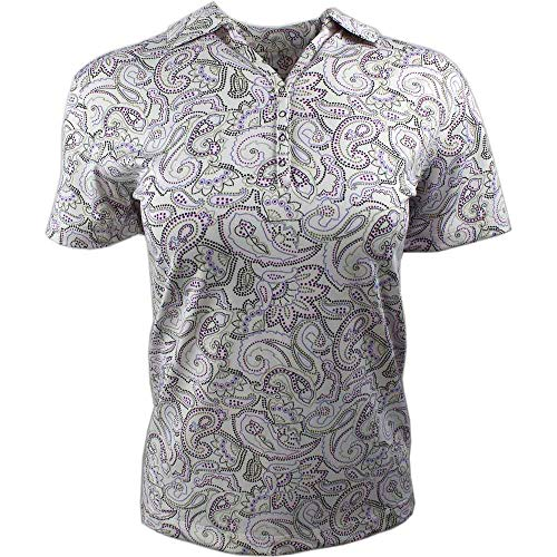 - PAGE & TUTTLE Womens Paisley Print Jersey Golf Casual Polo White S