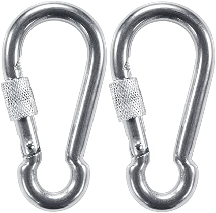 3Pcs Stainless Steel Snap Hook Safety Clip Carabiner Keychain Climbing Lock