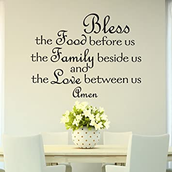 Bless The Food Before Us Wall Decal Quote Prayer Stickers Vinyl Sayings  Dining Room Wall Art Part 56