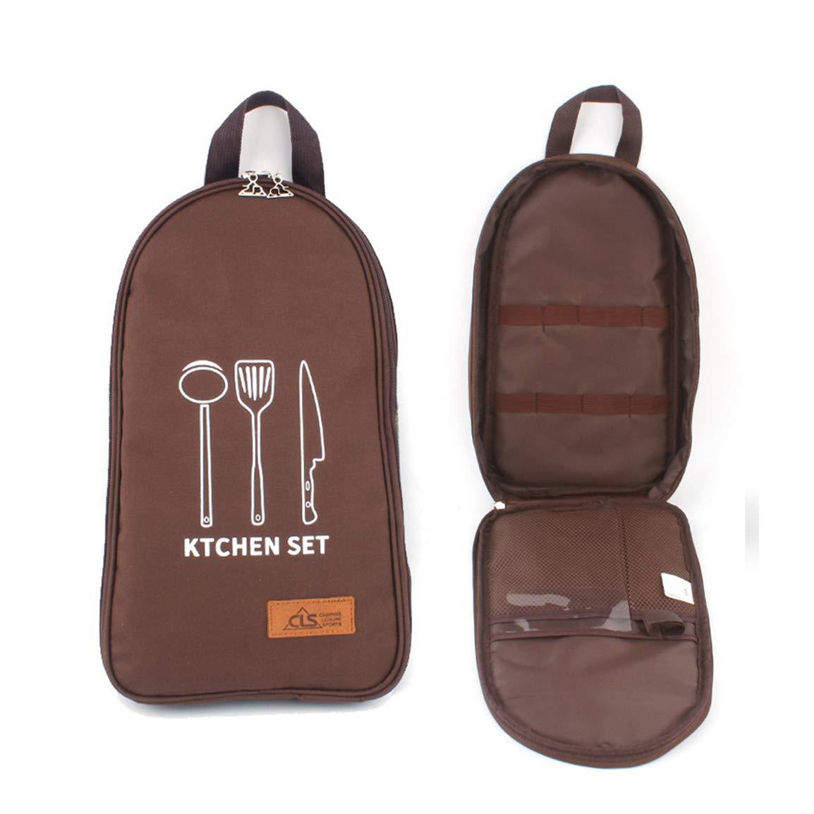 Eohak Cooking Utensils Travel Bag Camp, Portable Camping Kitchen Utensils Organizer (Brown) by Eohak