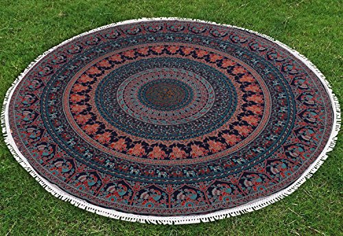 Bless International Indian-hippie-gypsy Bohemian-psychedelic Cotton-mandala Wall-hanging-tapestry-multi-color Large-mandala Hippie-tapestry (Roundie 70