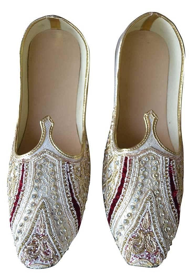 INMONARCH Crema Hombres Boda Zapatos Bordado MJ0189 46 EU