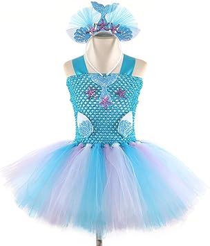 Disfraz de Sirena para niñas con tutú con Forro de algodón y ...