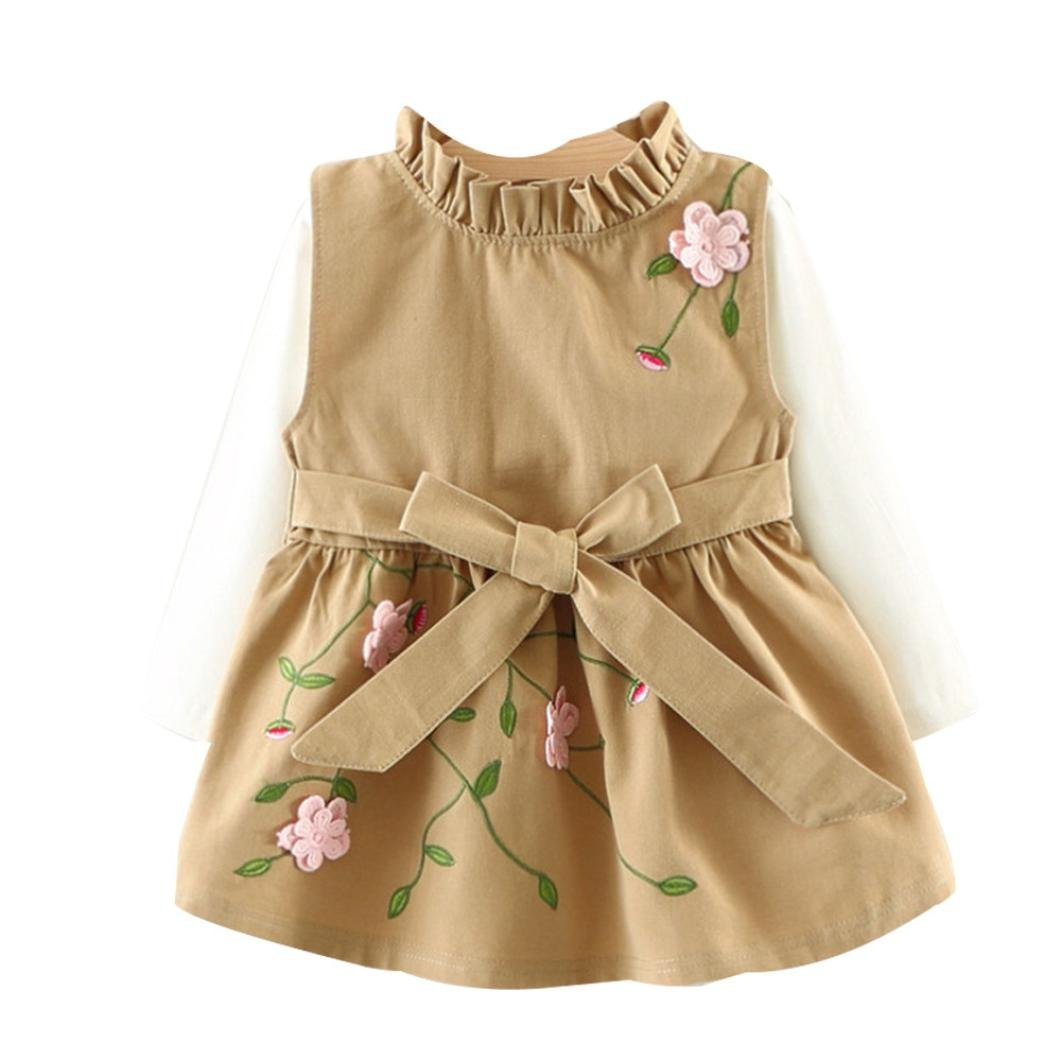 Muium Toddler Infant Newborn Baby Floral Bow Princess Dress T Shirt 2Pcs Outfits Boys Girls Clothes Set For Casual, Daily, Party or Bedroom