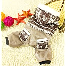 Pet Cat Dog Coat Soft Cotton Jumpsuit Hoodie Hooded Snowflakes Small Dog Clothes Sweaters Brown S