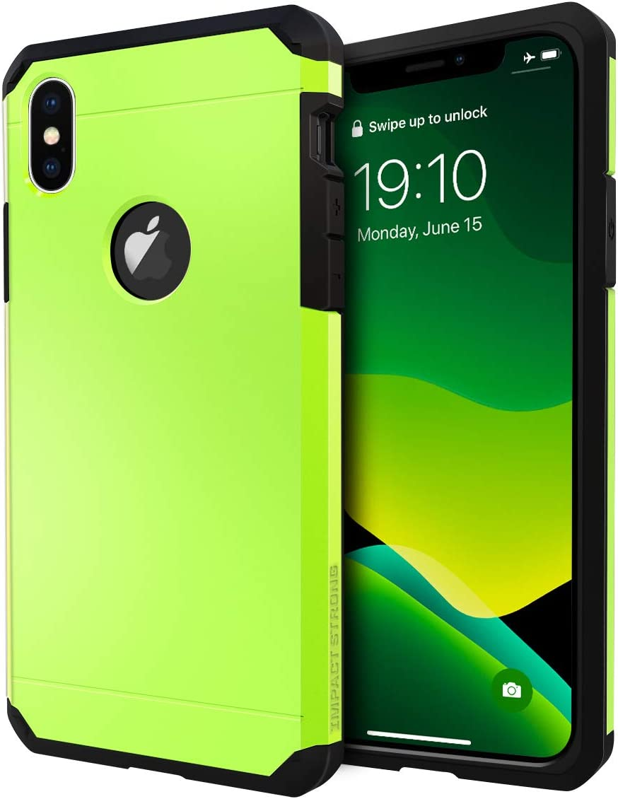 iPhone X Case/iPhone Xs Case, ImpactStrong Heavy Duty Dual Layer Protection Cover Heavy Duty Case for iPhone X/Xs 5.8 inch (2018) - Lime Green