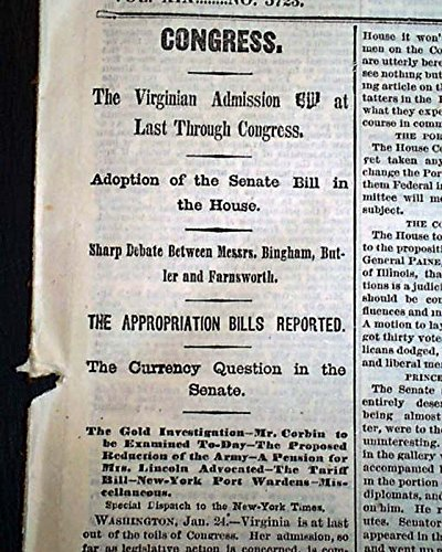 Post Civil War VIRGINIA ADMISSION Rejoins Back to the Union 1870 NYC Newspaper