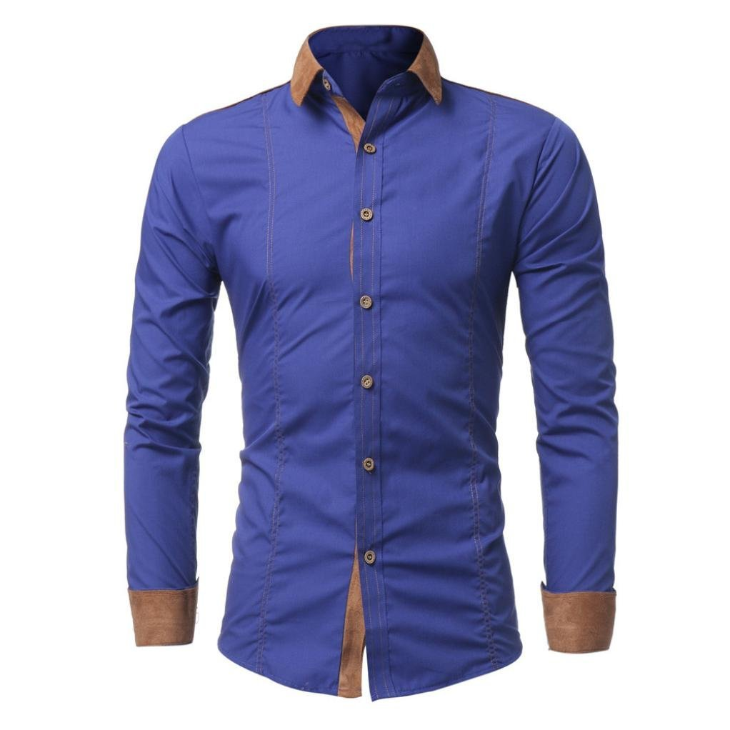 SCSAlgin Men Shirt Fashion Solid Color Male Casual Long Sleeve Shirt Casual Patchwork t Shirt (Blue, 2XL)