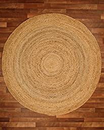 NaturalAreaRugs Elsinore Jute Round Rug, 100% Natural Jute, Hand Braided by Artisan Rug Maker, 5\' x 5\'
