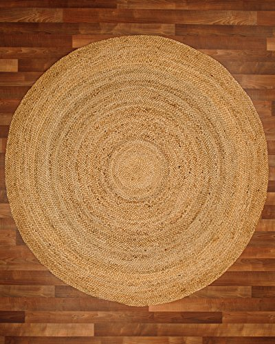NaturalAreaRugs Elsinore Jute Round Rug, 100% Natural Jute, Hand Braided by Artisan Rug Maker, 6' x 6'